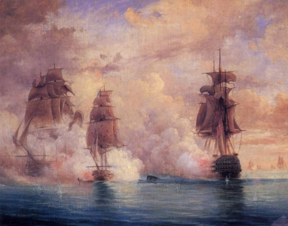Бой брига Меркурий с двумя турецкими кораблями, 1829 год