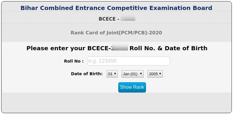 BCECE 2021 Rank Card