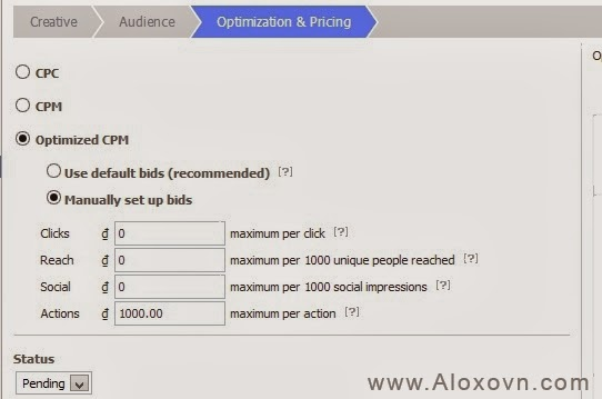 power editor: lựa chọn hình thức tính phí quảng cáo