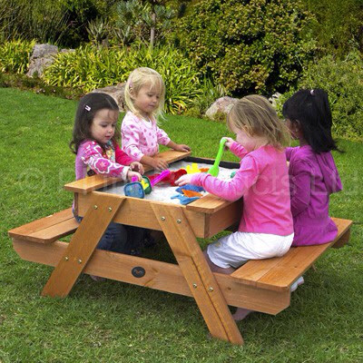Stunning Plum sand table, comes with a wooden matching lid when sand not needed,