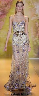 Vestido de gala de Zahair Murad en tul bordado con efecto fantasia