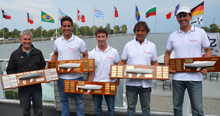 Brazilian Mauricio Santa Cruz and J/24 World Championship crew with trophies!