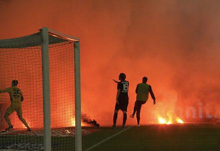Mayhem in Dusseldorf: Fortuna fans storm the pitch before Hertha Berlin were beaten