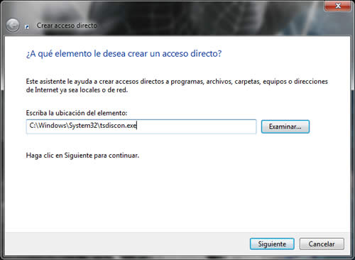 acceso directo en Windows 7