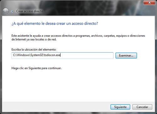 acceso directo en Windows 7