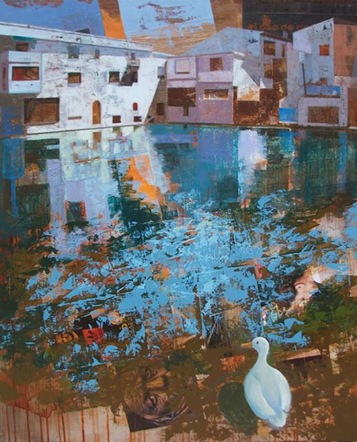 Balsa de los patos,pintura mixta de Jose Miguel Alguer Romero