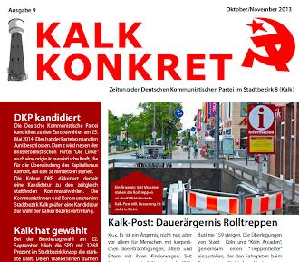 Faksimile: Kalk konkret, Ausgabe 9, Oktober/November 2013, Titelseite, Ausschnitt.