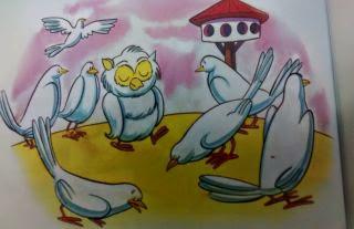 La lechuza y las palomas Fabulas infantiles