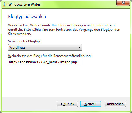 Windows Live Writer - Blogtyp