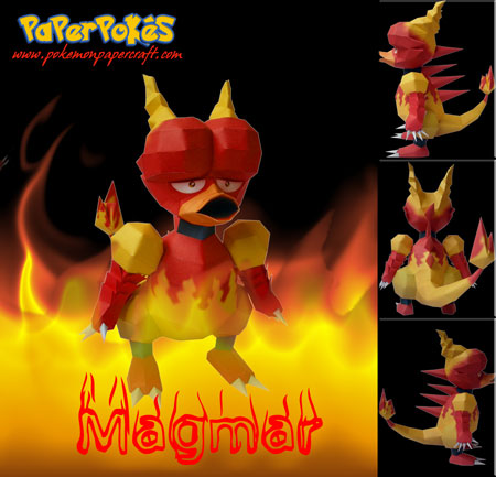 Pokemon Magmar Papercraft