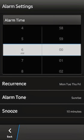 Alarm BB10 Setting