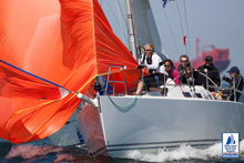 J/109 under spinnaker at mark