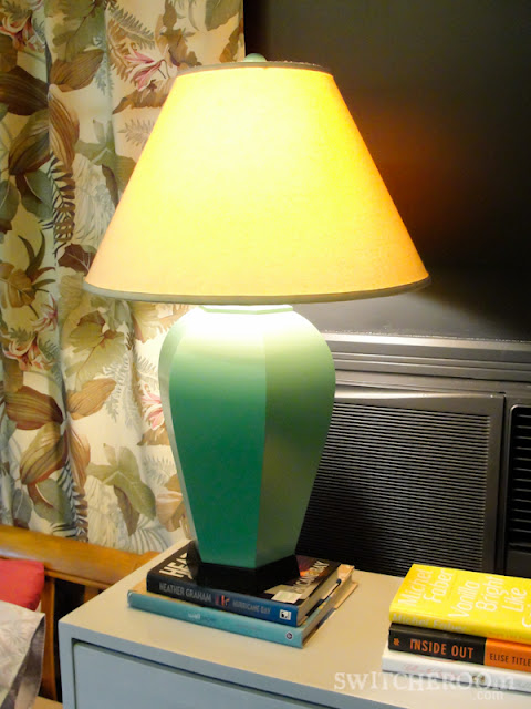 diy lamp, spray painted lamp, turquoise lamp