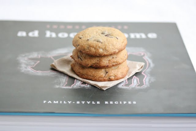 photo of a stack of chocolate chip cookies on a cookbook