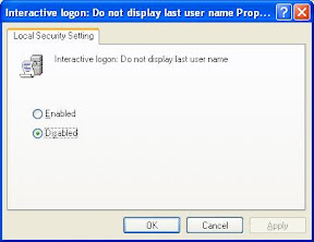 Setting for displaying last logged in user name