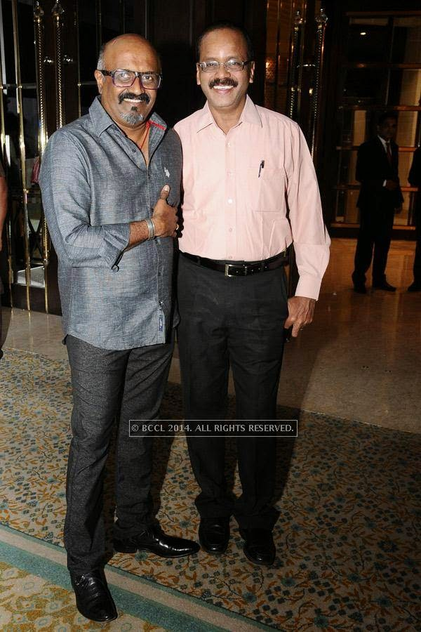 Ravi K Chander and Dhananjayan during the birthday celebration, held at The Leela Palace, in Chennai.<br />