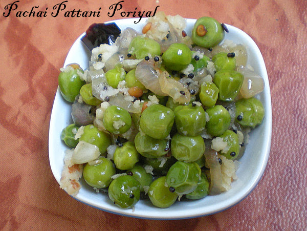 Pachai Pattani Poriyal/Green Peas Poriyal Recipe