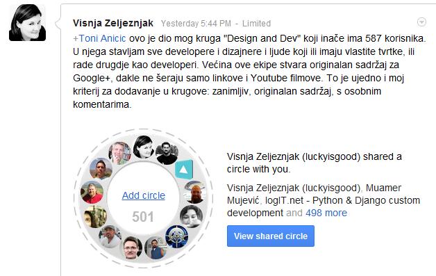 Višnjin Design & Dev krug za G+