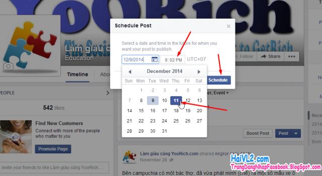 đặt lịch đăng tin lên facebook