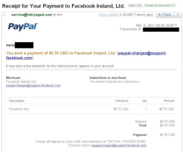 Facebook Paypal Payment Email Notification