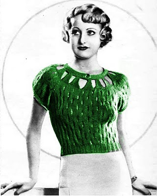 Free 1930's Knitting - The Fashionable Slit Neckline