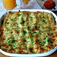 cannelloni ze szpinakiem i brokułami pod beszamelem
