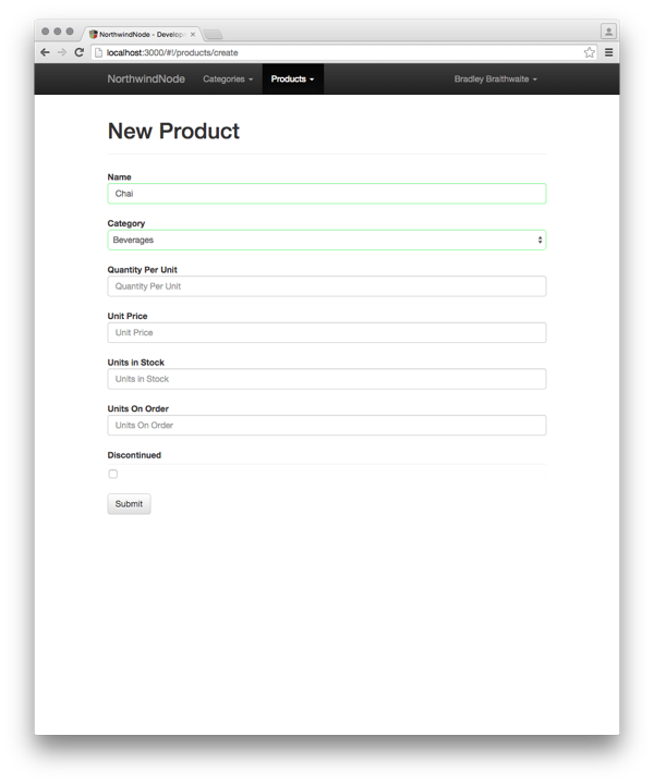 create product screen