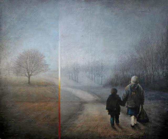 Ángeles,obra en técnica mixta del pintor Ligüeri