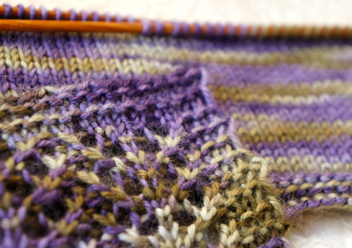 Knitted swatches with handpainted yarn