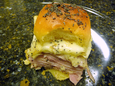 ham and cheese slider melts with Hawaiian dinner rolls