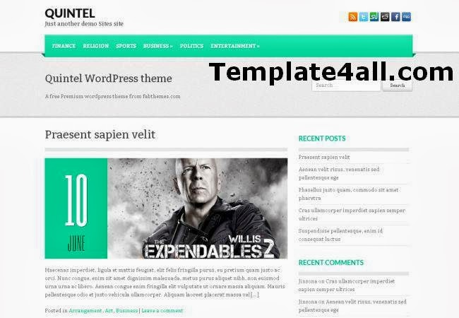 Magazine Wordpress Green Theme Template