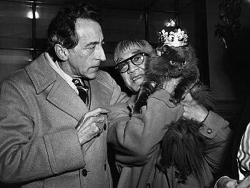 Jean Cocteau and Fujita Tsuguharu and a cat