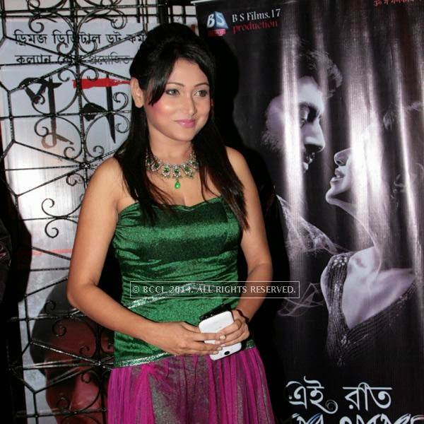 Meghna Halder during the premiere of Ai Raat Tomar Amar, held in Kolkata.