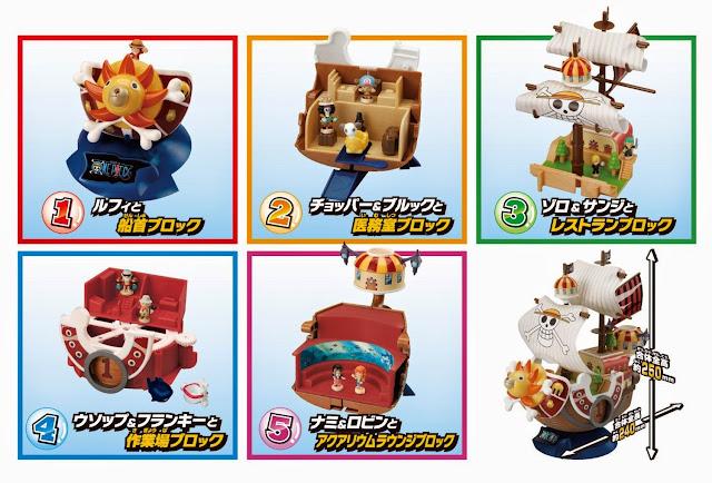 Mô hình One Piece - Southand Sunny với từng thành phần lắp ráp