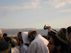 Prayer with Shofars opposite Mt Nebo