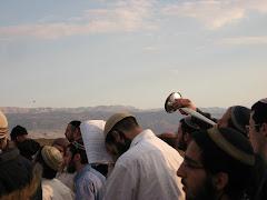 Prayer with Shofars opposite Mt Nebo