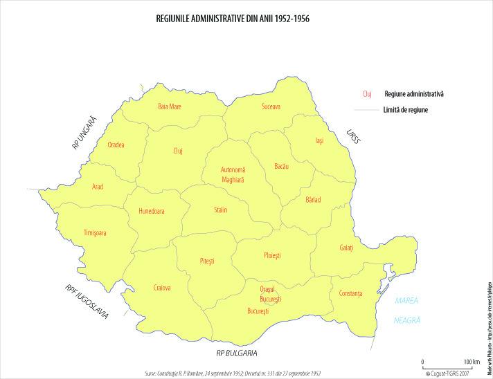 Harta administrativ-teritorială a României între 1952 - 1956