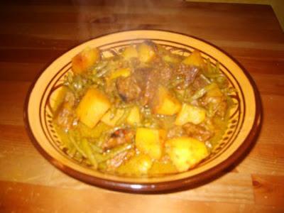 Tajine de boeuf, haricots verts et pommes de terre - recette indexée dans les Viandes