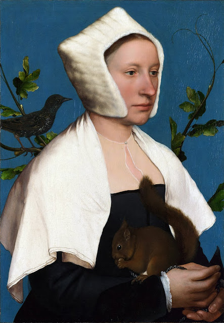 Hans Holbein the Younger - Portrait of a Lady with a Squirrel and a Starling, c. 1527–28
