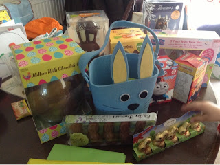 Easter chocolate and treats with a rabbit shaped bag