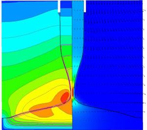 Распределение температуры и плотности тока (цветом), скорости (векторы). electromagnetics@cfx. Моделирование процессов дуговой сварки