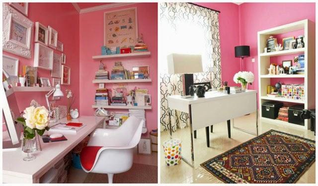 Como decorar o escritório com a cor rosa