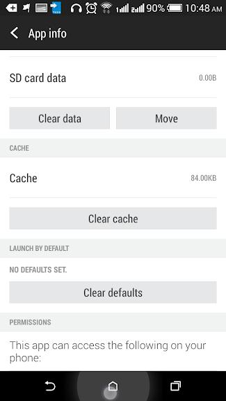 Giao diện Xóa Cache hoặc chuyển dữ liệu sang thẻ nhớ