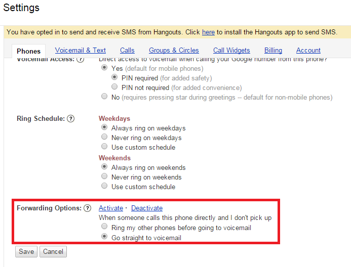 Google Voice Not Ringing Hangouts
