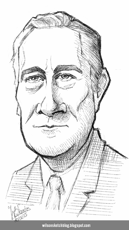 Caricature sketch of 32nd President of the USA, Franklin D. Roosevelt.