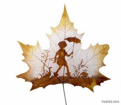انقش صــورة تحــب الشجــر.. غاية الروعة leaf_painting_art_04