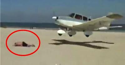 Avião vai a aterrar junto a praia e encontra homem no meio do caminho!! O que acontece é...