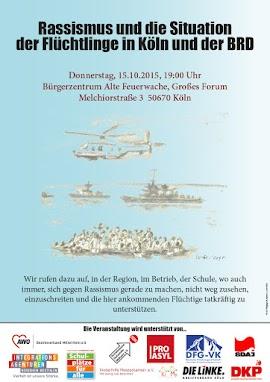 Plakat: »Rassismus und die Situation der Flüchtlinge in Köln und der BRD...«.
