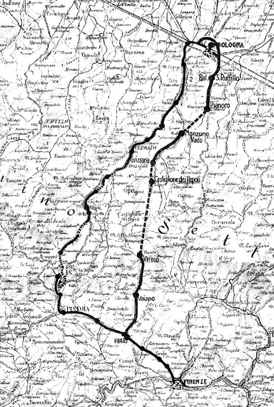 Carta del 1934: confronto tra la Porrettana (a sinistra) e la Direttissima (a destra)