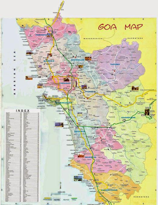Гоа - карта с отелями, пляжами и достопримечательностями